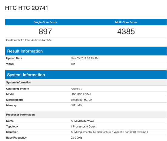 HTC 2Q741 handset with MediaTek Helio P35 SoC, 6GB RAM spotted on