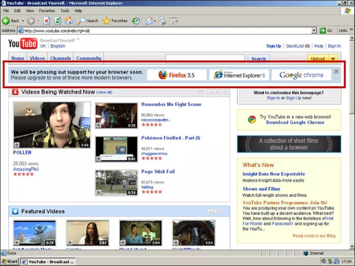 YouTube engineers hatched a plan to kill Internet Explorer 6