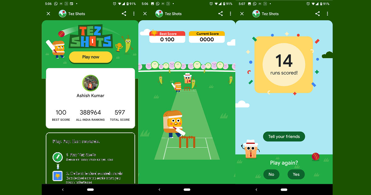 Google Pay's Tez Shots game lets you win scratch cards | 91mobiles com