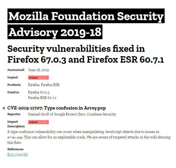 Mozilla issues security advisory, urges users to update Firefox
