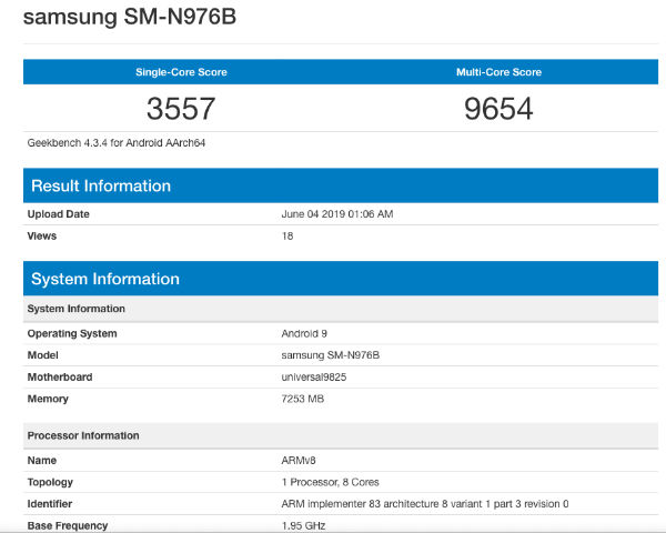 Image result for Galaxy Note 10 spotted on Geekbench, chipsets revealed