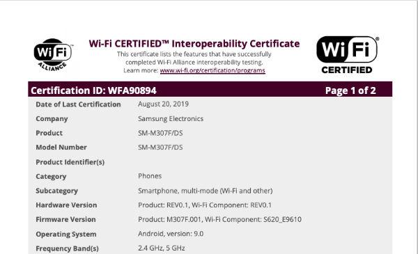 三星Galaxy M30s包包Wi-Fi联盟认证
