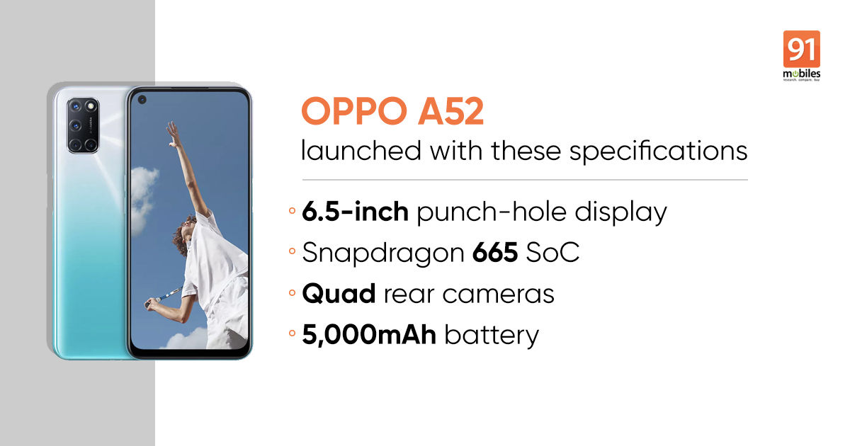 OPPO A52 upcoming smartphone launch in India on 26 June 2020 specification & features