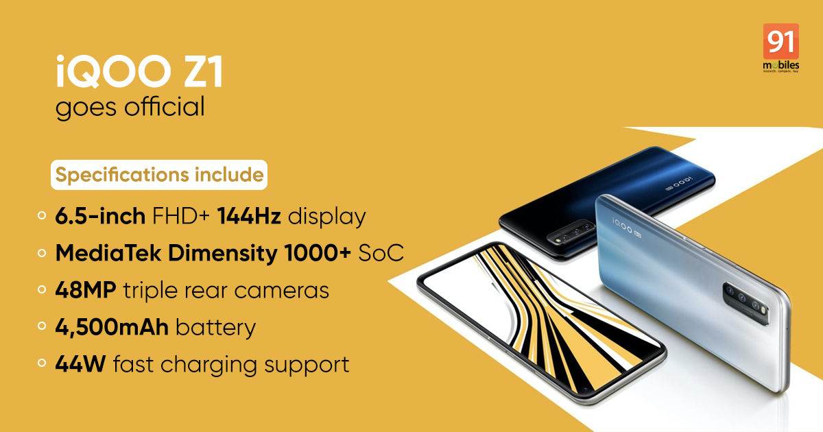 iQOO Z1 5G launched with MediaTek Dimensity 1000+ SoC, 144Hz ...