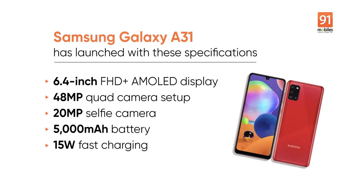 Samsung Galaxy A31 launched in India: Check price, specifications, features