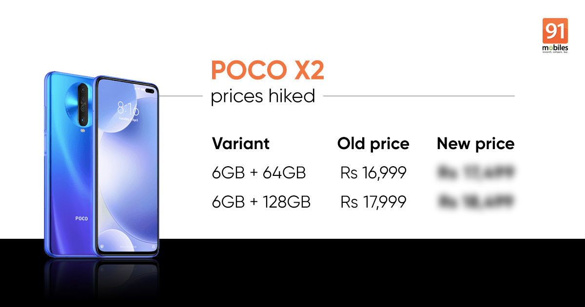 Poco X2 Prices In India Increased For The Second Time In Two
