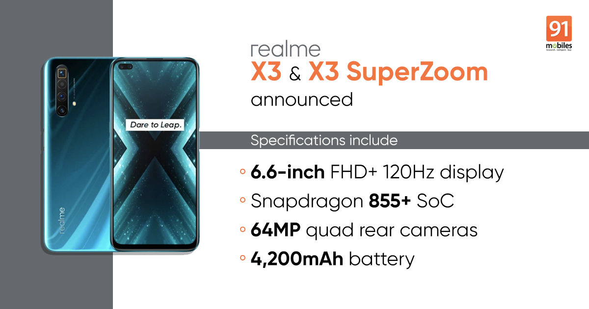 Realme X3 X3 Superzoom Price In India Specifications Sale Date