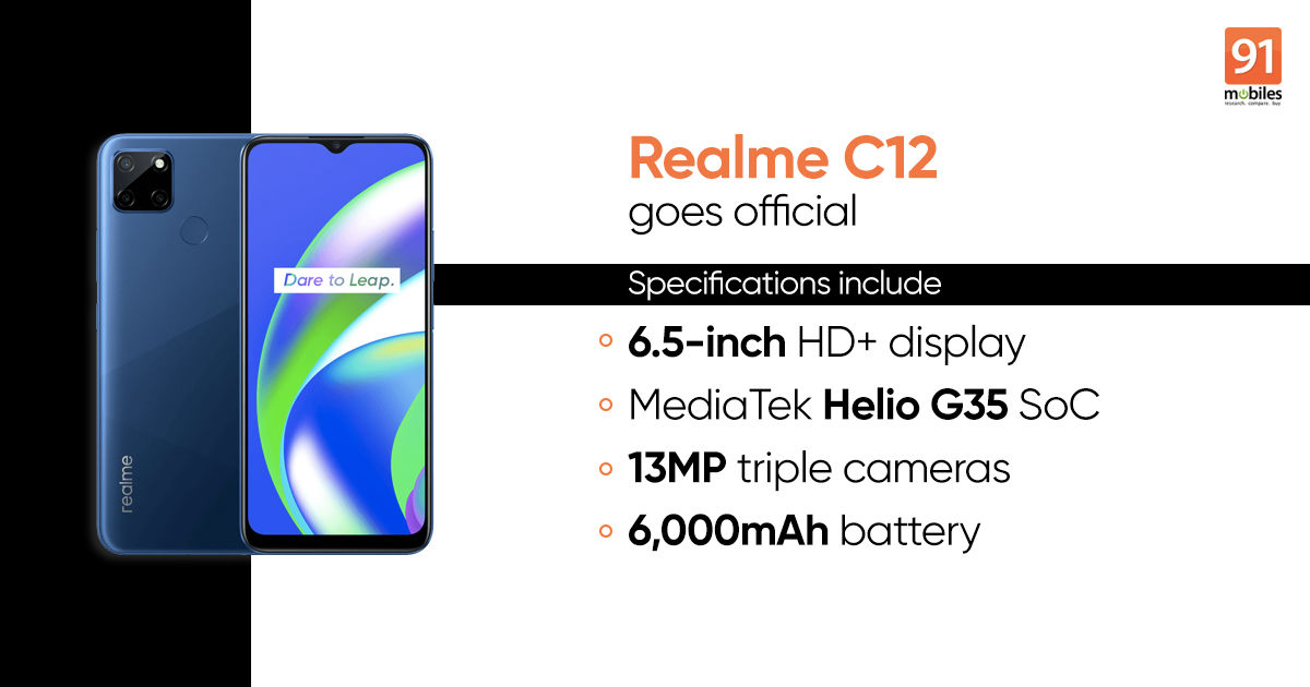 Realme C12 goes official ahead of India launch: price, specifications - 91mobiles