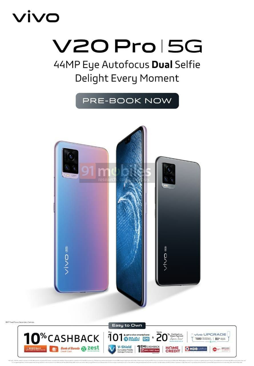 Exclusive] Vivo V20 Pro 5G price in India, pre-booking details revealed |  91mobiles.com