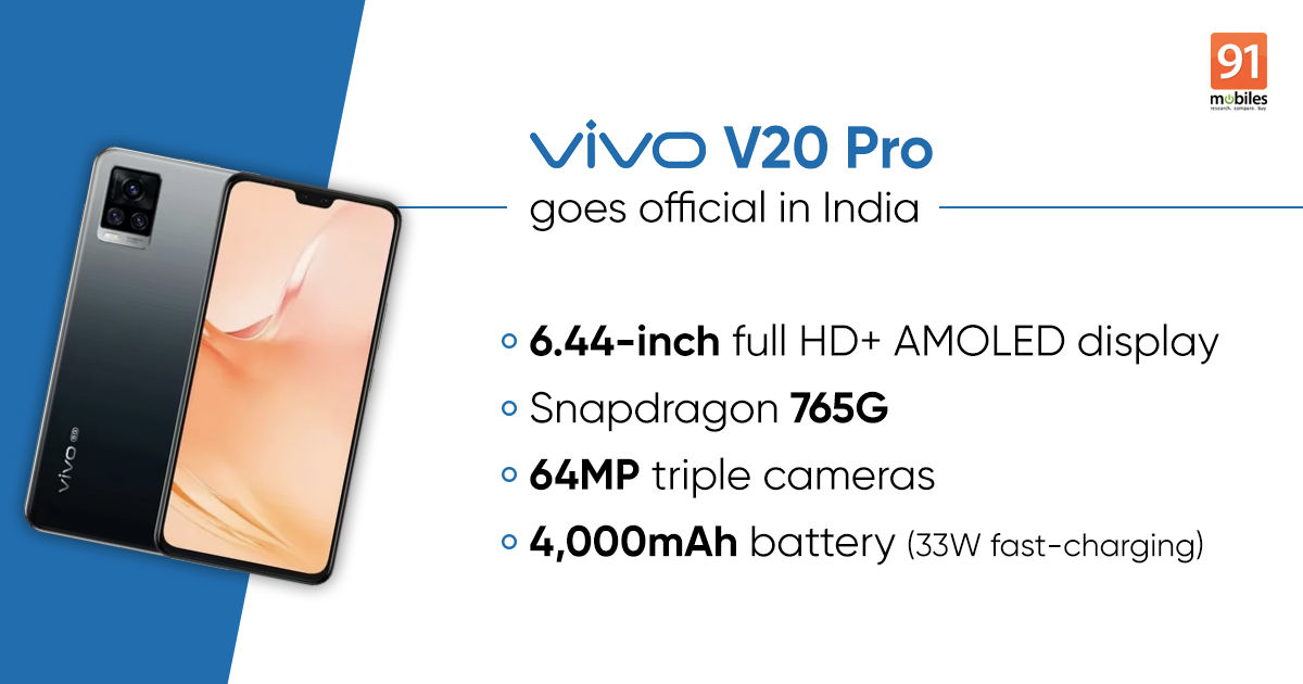 Vivo V20 Pro Launched In India Price Specs 91mobiles Com