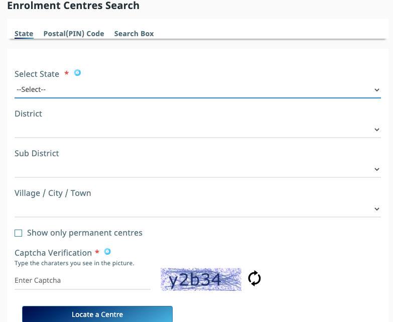 Enrollment centres search