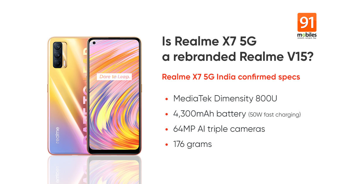 Realme X7 5G India variant specifications will be similar to Realme V15 - 91mobiles