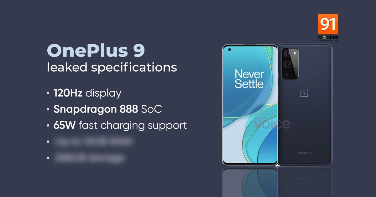 OnePlus 9 specifications leaked: 120Hz display, 65W fast charging, and much more - 91mobiles