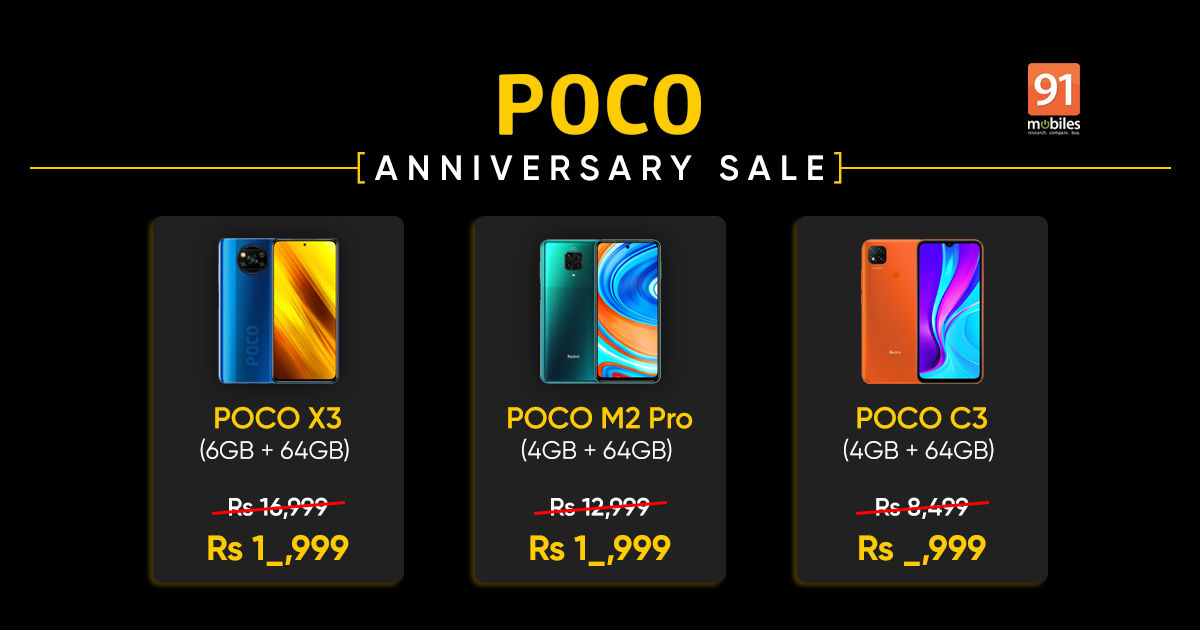 POCO X3, M2 Pro, M2, and C3 prices in India discounted on Flipkart under Anniversary Sale - 91mobiles