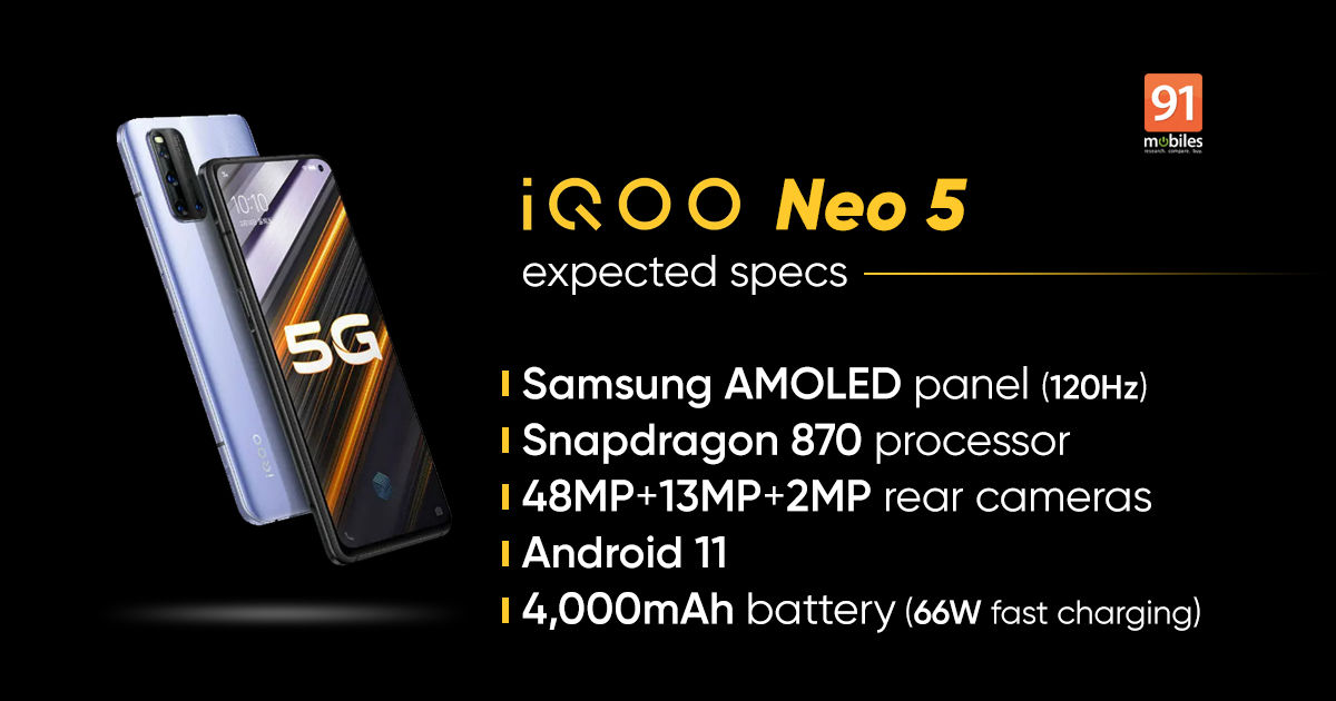 iQOO Neo 5 specifications to include 120Hz OLED display, 1300nits brightness, and more - 91mobiles
