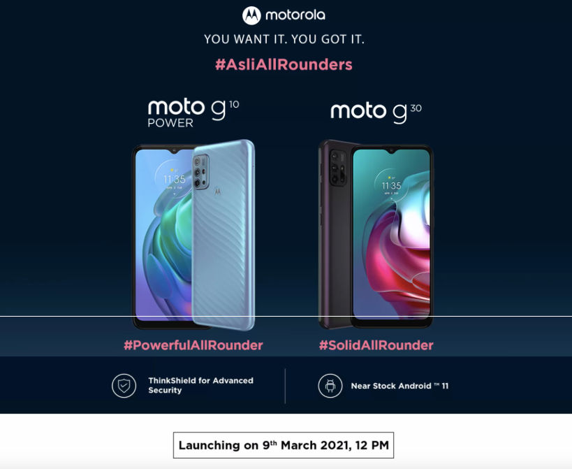 Moto G10 and Moto G30 launch date in India