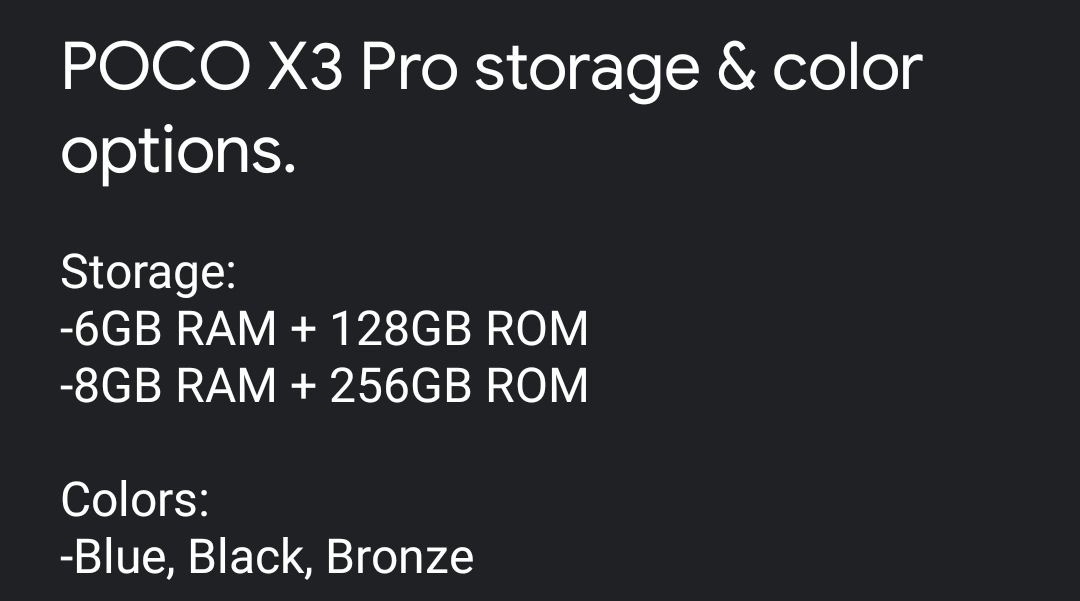 Exclusive] POCO X3 Pro storage and colour options revealed