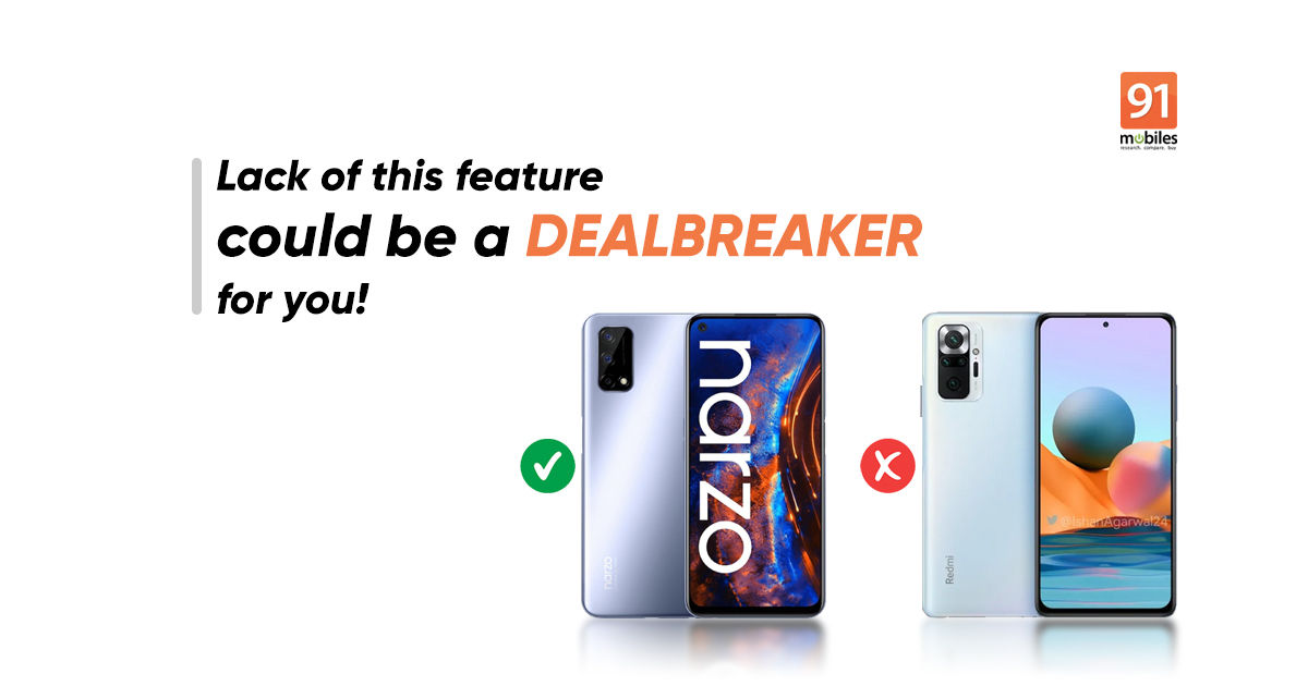 Realme Narzo 30 Pro has this feature but Redmi Note 10 Pro Max doesn't - 91mobiles