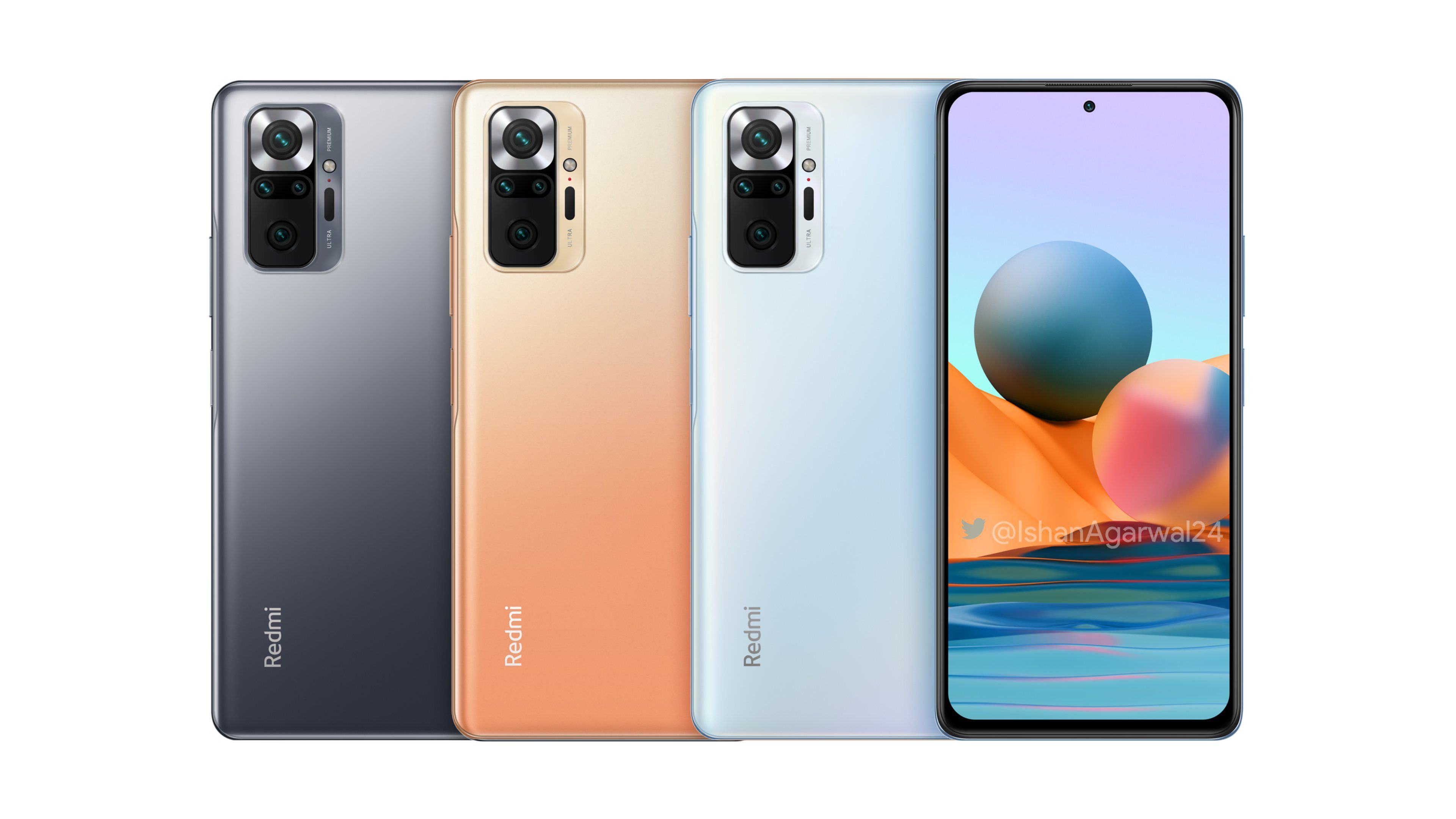 Redmi Note 10, Redmi Note 10 Pro, Redmi Note 10 Pro Max renders and specs leak out